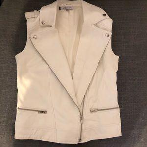 Jennifer Lopez White Faux Leather Vest